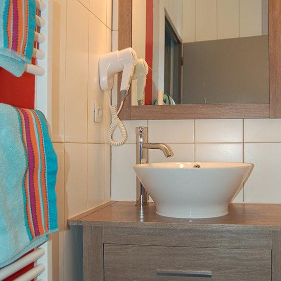 Salle d'eau avec sèche-serviette
