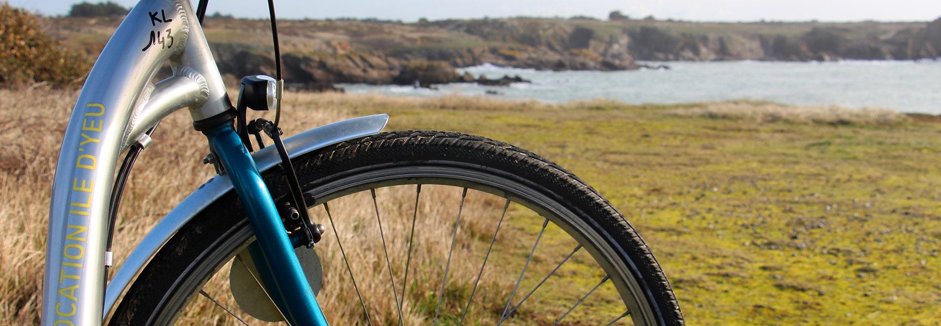 Roue de vélo devant l'océan